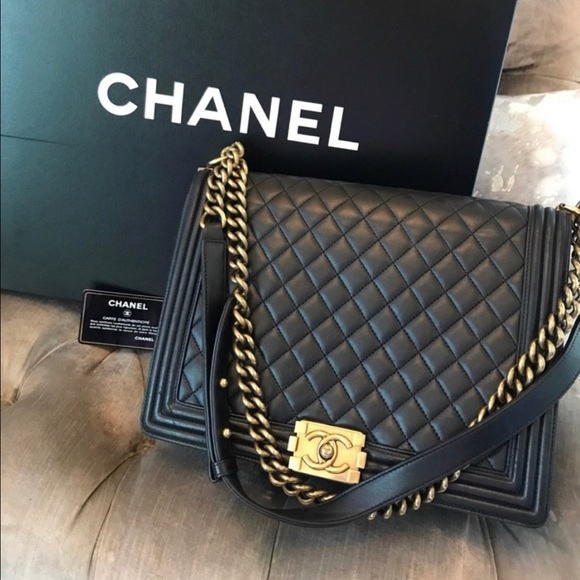 CHANEL Handbags - Authentic Chanel Le Boy. Navy. Large.